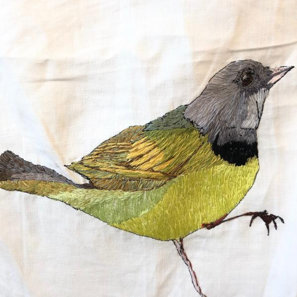 Hand embroidered, thread painting, mourning warbler, endangered birds, installation, environmental art,  fiber art