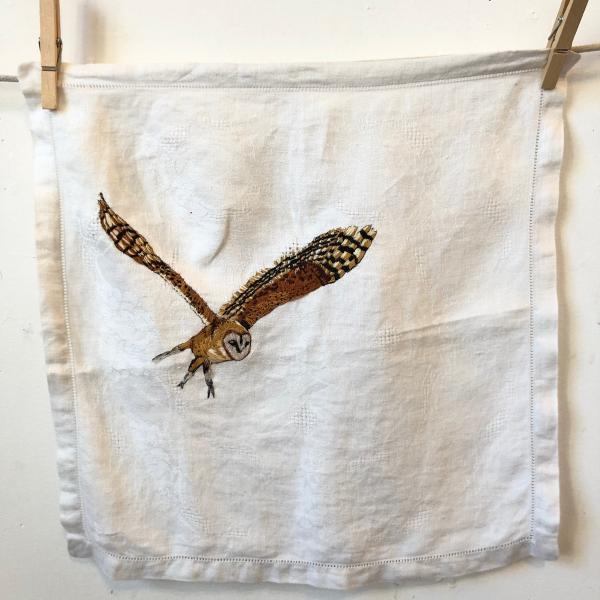 Hand embroidered ,barn owl, thread painting, fiber art, endangered birds, installation