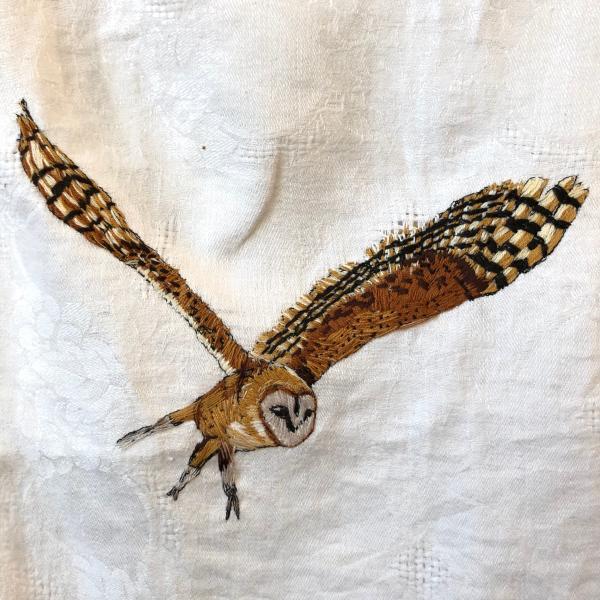 Hand embroidered ,barn owl ,embroidery, fiber art, endangered birds, owl, installation
