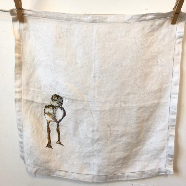Hand embroidered, piping plover, vintage linen napkin, endangered birds, installation
