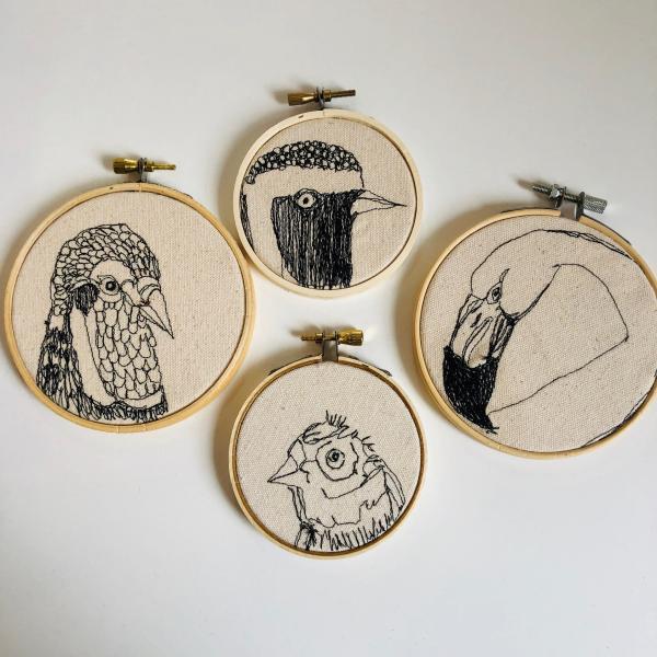 fiberart, thread drawing,  bird