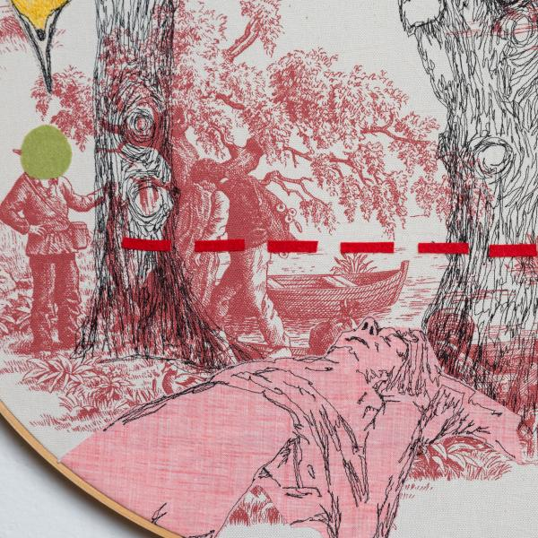 fiberart, thread drawing, figure
