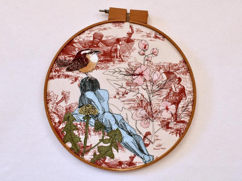 fiberart, thread drawing, figure , bird
