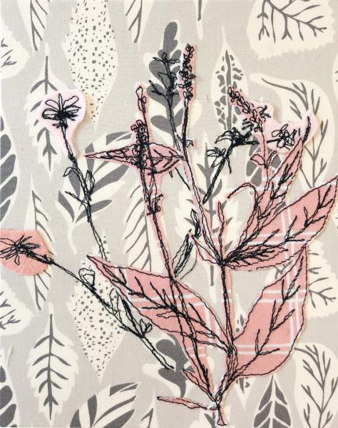 fiberart, thread drawing, plants