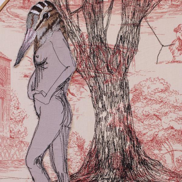 fiberart, thread drawing, figure , tree