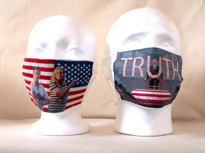 political art, hand embroidery, image transfer, cover art, mask