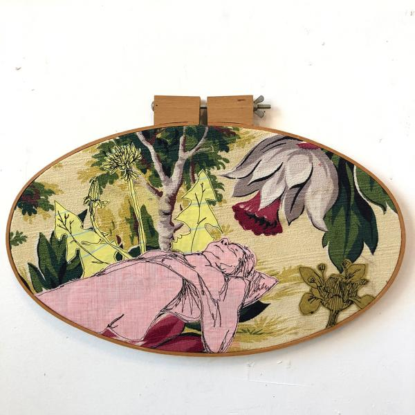 Dream, freehand machine stitched figure, vintage barkcloth,
