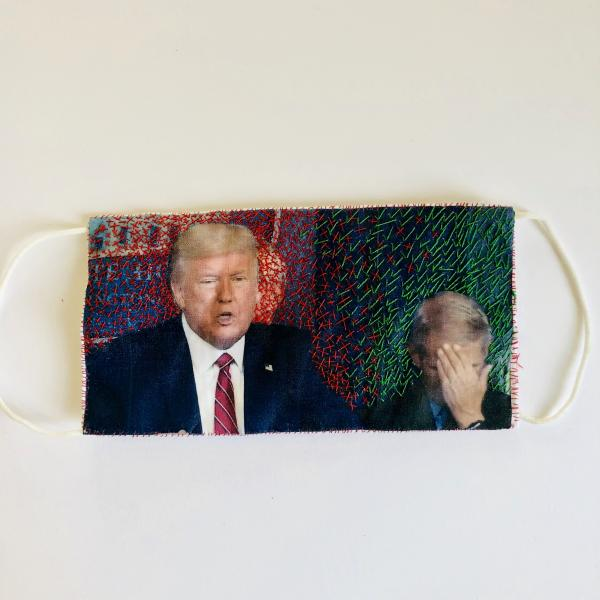 hand embroidery, cover 19, cover artifact, mask, Fauci, Trump