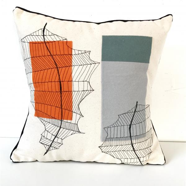 freehand machined embroidered, abstract , felt appliqué, leaves, decor pillow, plant illustration d