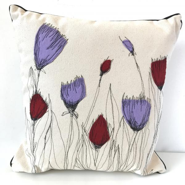 Freehand machined embroidered, thistles,edible plants. illustration, plant illustrations, felt applique,