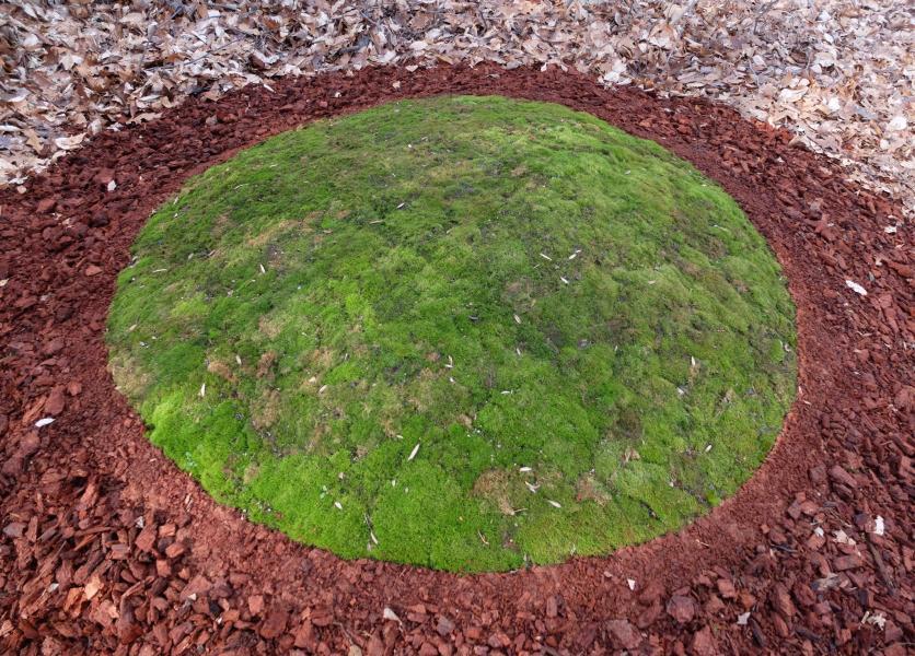 earthwork, land art, moss, burial mound