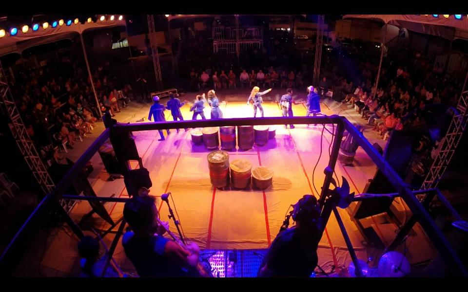 Latatown. View of band platform, stage, and audience.