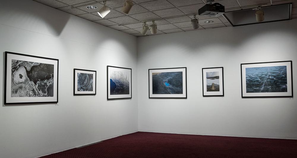 """Detail of exhibition installation of """"Walking in Antarctica,"""" Rosenberg Gallery, Goucher College, 2017-2018."""