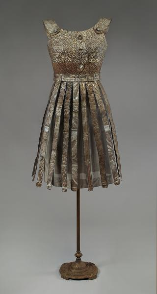 Beryl. Sculptural dress made of vintage ceiling tin