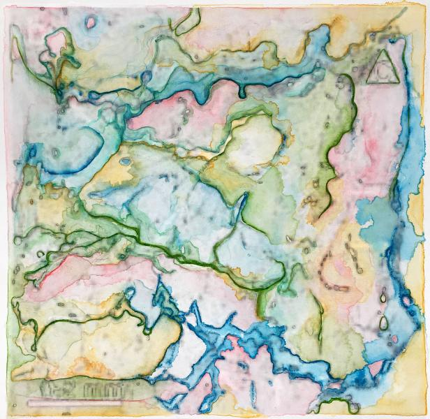 "Mapping the Invisible: Chasmoendolithic Habitats #1  ©2016, watercolor, white gesso and pencils over altered digitized image, mounted on printmaking paper; image: 11 1/8"" x 11.25""; matted and framed 16.25"" square"