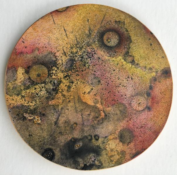 "Gaia: Petri #2 © 2018 Janet Maher; mixed media drawing, heat-set toner, gouache wash, colored pencils, mounted on wood, 4"" diameter x 1/4"""