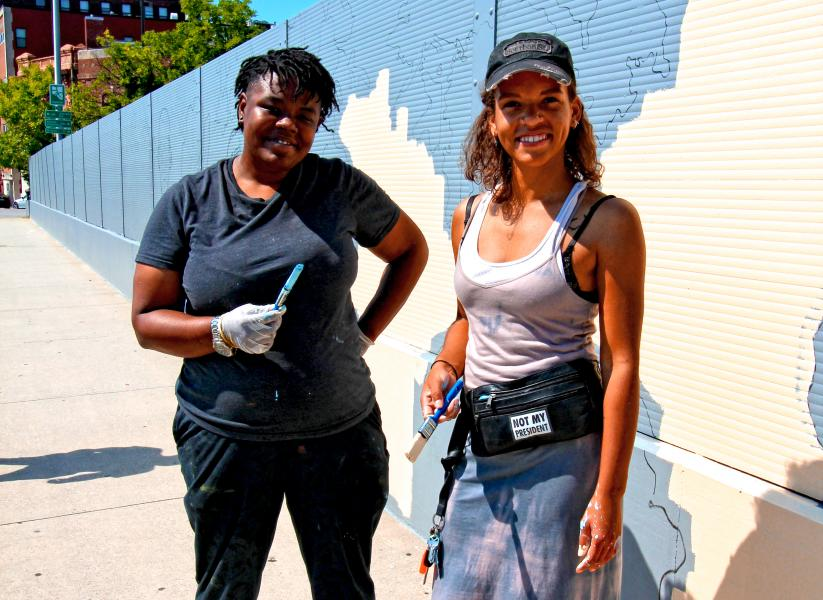 Baltimore City People, Muralists on Guilford Street St. Photo by Edward Weiss.