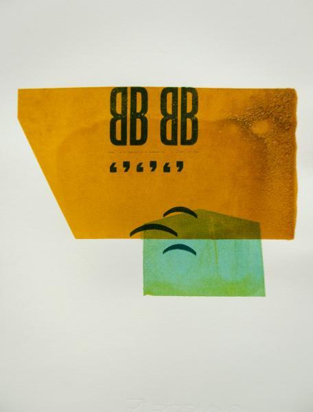"Bergamo. 2017. Screenprint and letterpress on paper. 10"" x 14""."