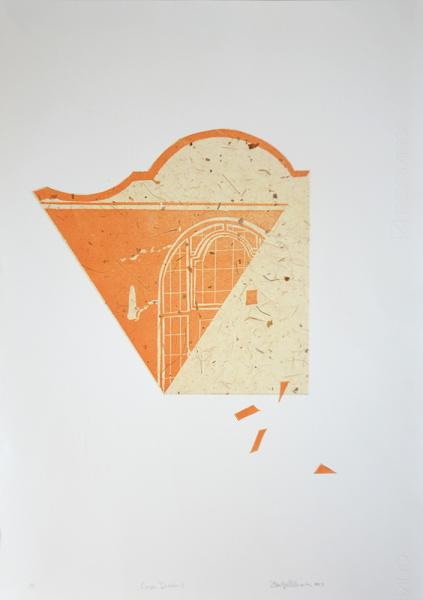 """Cape Dutch II. Relief print with chine-collé on paper. 10"""" x 14""""."""