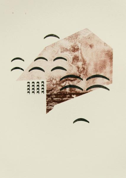 "Terracotta Tiles. 2017. Screenprint and letterpress print on paper. 10' x 14""."