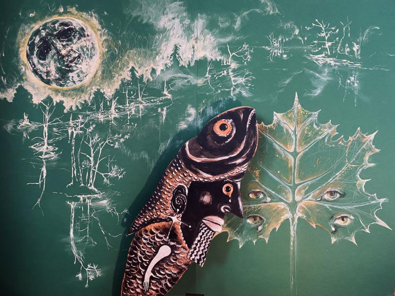green moon, fish being, dogon fish man