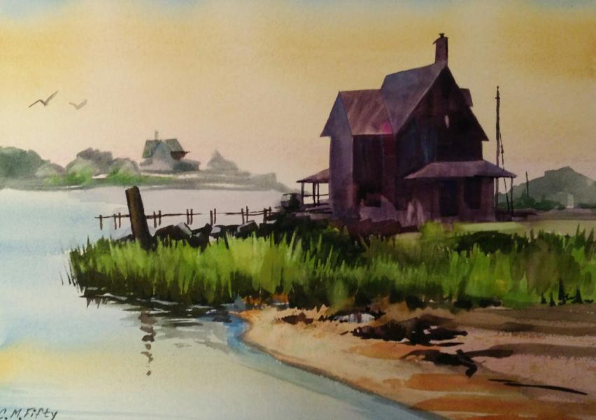 """Watercolor painting of an old fishing shack on the Chesapeake. 11"""" by 15"""" on Arches paper."""
