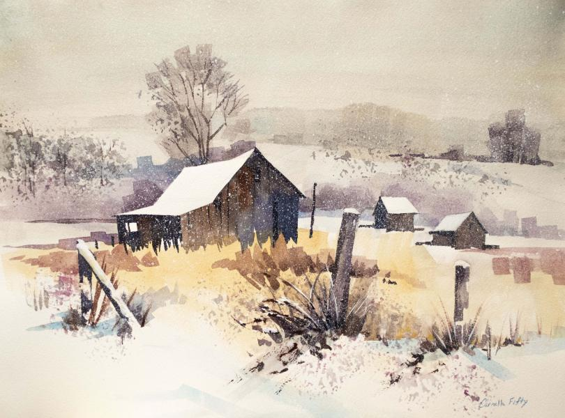 Watercolr painting of flurries floating softly on this fresh blanket of snow in western Maryland.