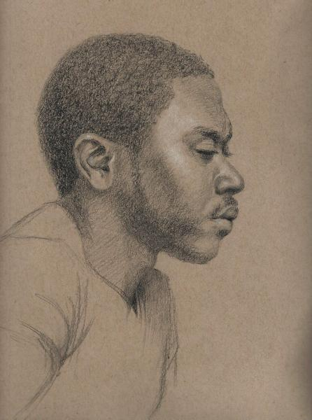 This is charcoal sketch of Marcus on toned tan paper. 9 x 12 inches.ches.