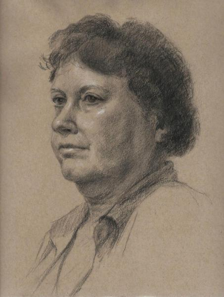 This is a charcoal sketch of Robin on toned tan paper. 9 x 12 inches.
