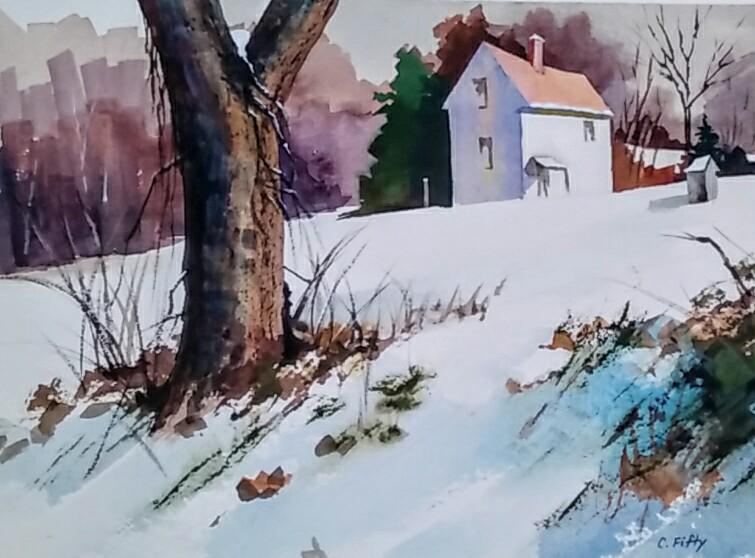 "11"" by 15"" watercolor painting of a country home in the snow."