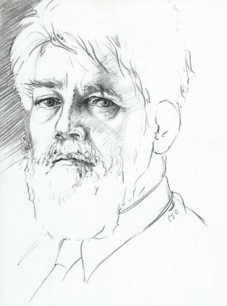 """Black and white drawing of a man on coquille board. 8.5"""" by 11""""."""