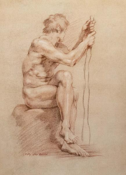 """11"""" by 14"""" conte copy of the old master drawing by Gian Loenzo Bernini."""