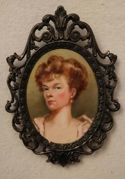"""Pretty Woman"" is a miniature portrait that measures 2.5 x 3.25 inches."