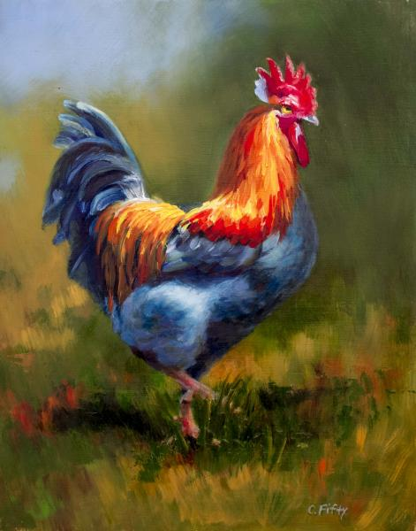 "9"" x 12"" oil painting of a vivid blue rooster."