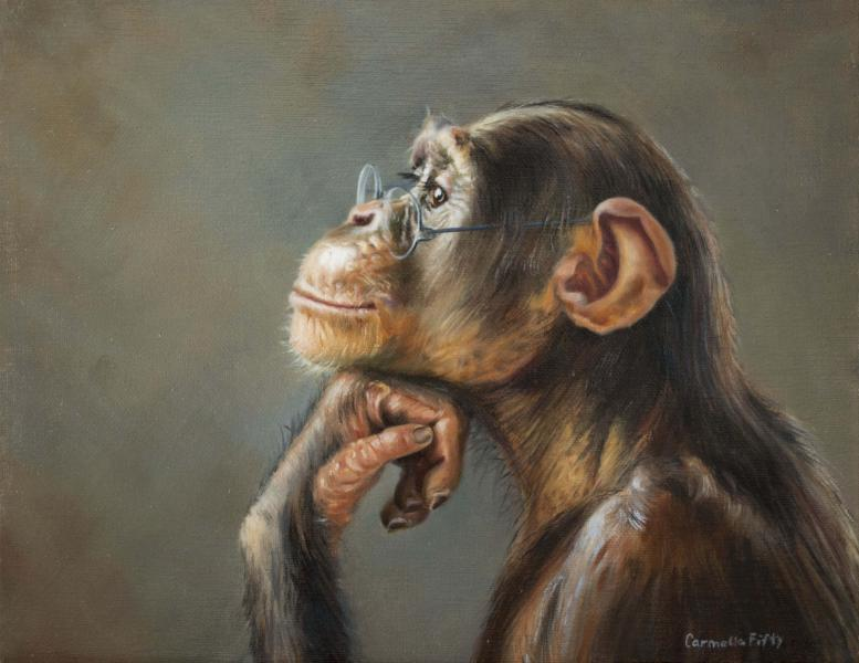 Portrait of a chimpanze wearing glasses, titled, The Visionary.
