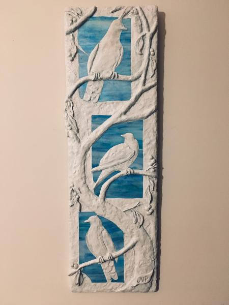 Hand-cut opalescent stained glass, hand-sculpted concrete, 36 x 11.5