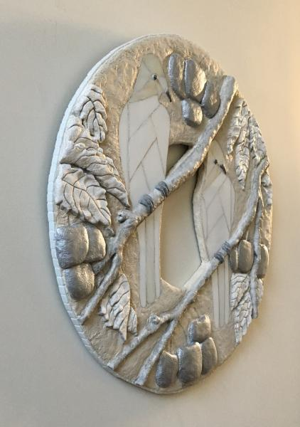Bas relief sculpted concrete, white stained glass, acrylic paint, 24.5 diameter
