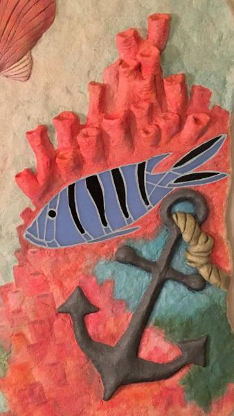 anchor, blue fish