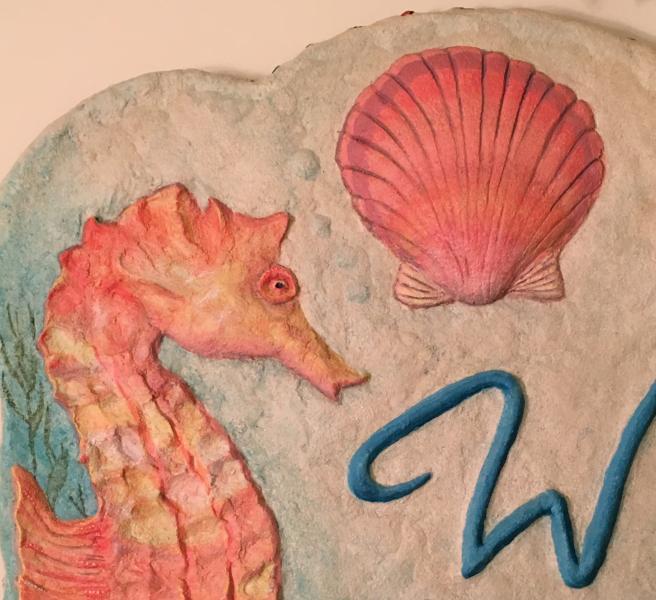 seahorse cement sculpture