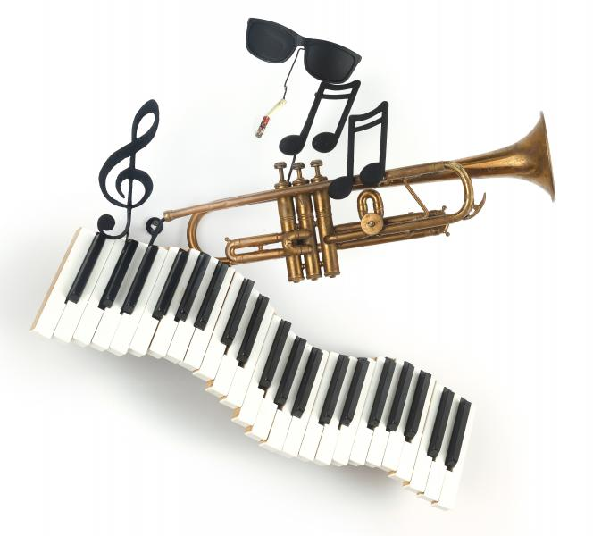 musical, repurposed, mixed media, jazz, piano, assemblage