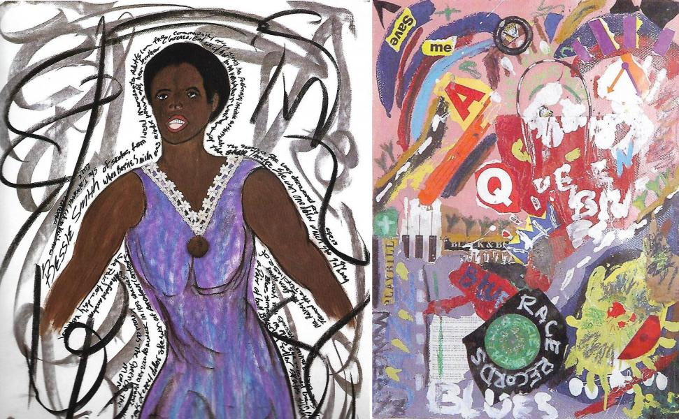 Bessie Smith portrait with abstract version
