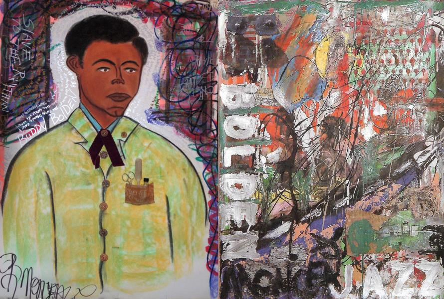 Buddy Bolden portrait with abstract version