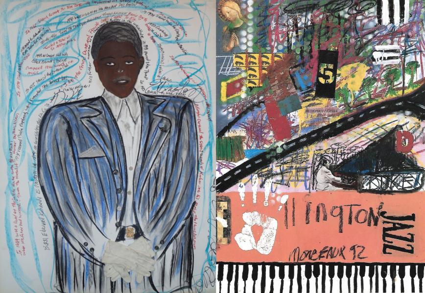 Duke Ellington portrait with abstract version