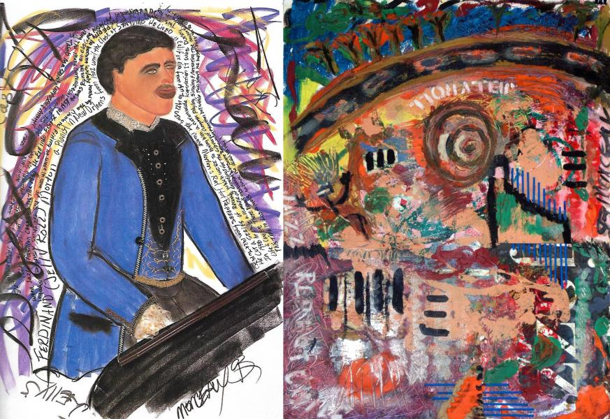 Ferdinand 'Jelly Roll' Morton portrait with abstract version