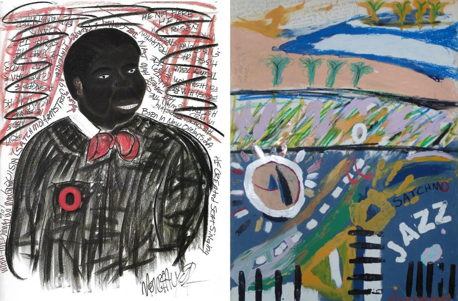 Louis Armstrong portrait with abstract version