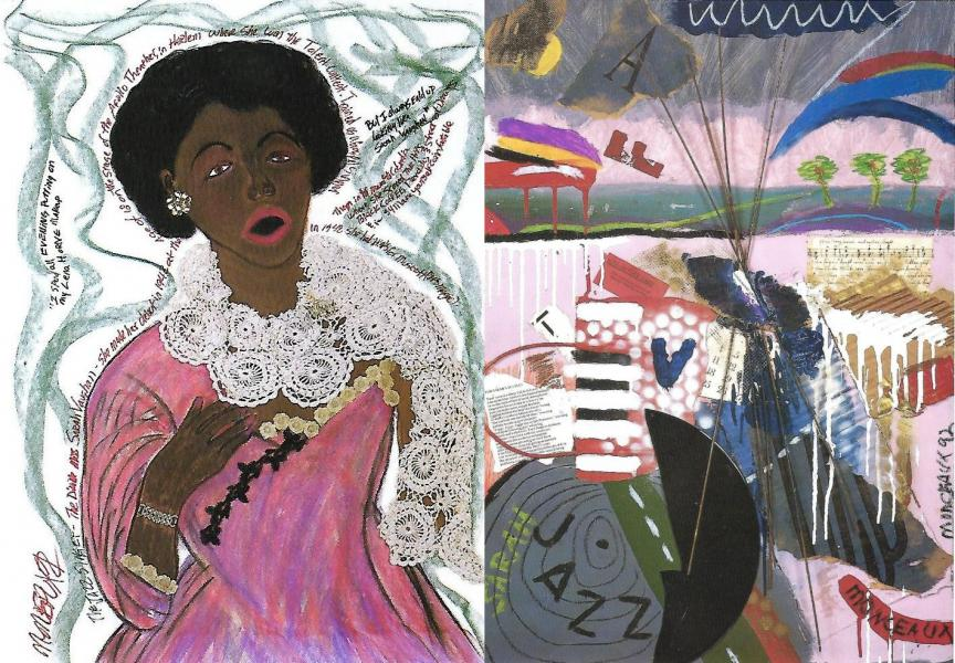 Sarah Vaughan portrait with abstract version