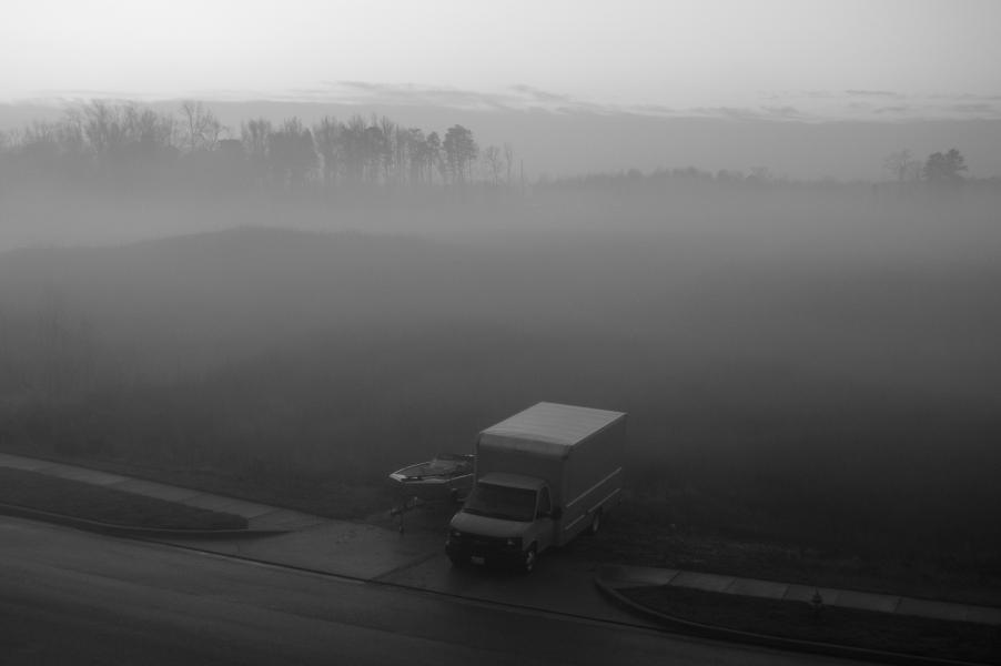 Truck and Boat in the Fog