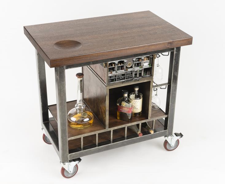 bespoke, bar cart, liquor cabinet, whiskey, whisky, james joyce bar, modern industrial furniture, miniature art, miniart