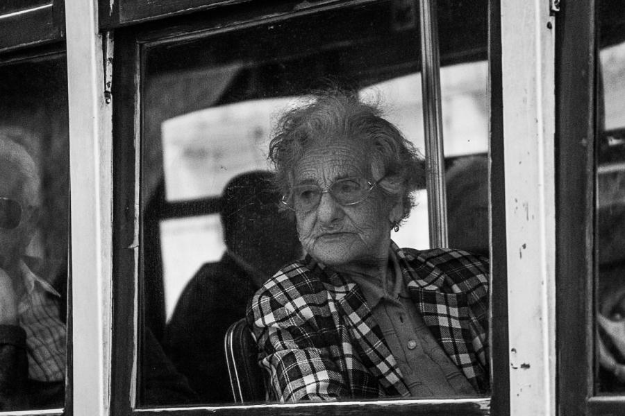 Old Woman on a Tram, Lisbon.