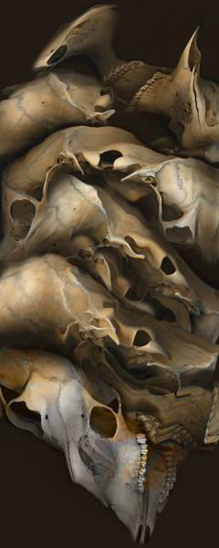 Digital Collage of a scanned deer skull.